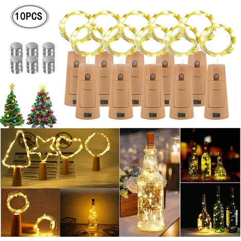 Pack of 10 Light Chains for Bottles 20 LEDs 2M Warm White Silver Wire Bottle Light Mood Lights for Party DIY Decoration Christmas Halloween Wedding Romantic