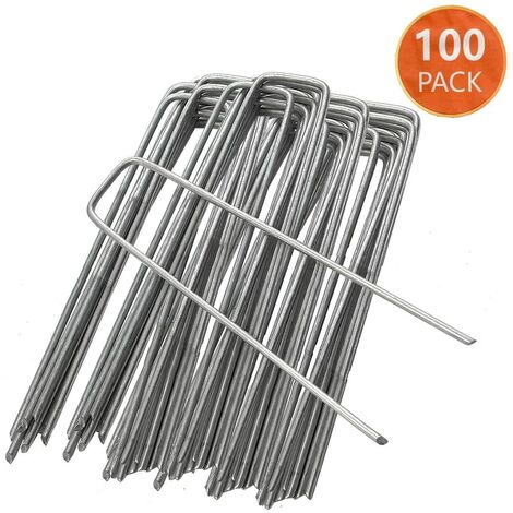 Pack of 100 - Garden Pegs Stakes Staples Securing Lawn U Shaped Nail Pins, 6''/150mm Ideal for Weed Control Membrane/Fabric/Artifical Grass/Matting/Netting Galvanised Ground Peg