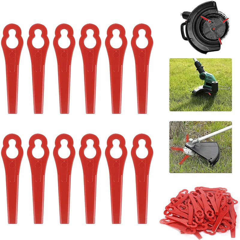 Pack of 100 Plastic Lawn Mower Blades, Replacement Blades for Edger, Lawn Mower Accessories, Replacement Plastic Blades, Big Hole 12mm Small Hole 7mm
