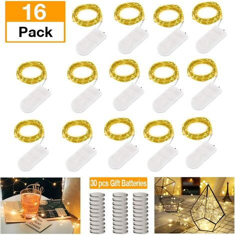 Pack of 15 LED Bottle Lights with Battery, 20 LEDs 2M Copper Wire Wine Bottle Lights with Cork Cord Light Copper Wire for DIY Decoration Christmas Party Holiday Mood Lights