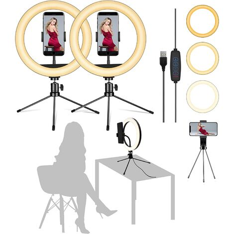 """main image of """"【Pack of 2】 10"""" Ring Light with Metal Tripod Stand - Flexible Phone Holders, 3 Lighting, Desktop Selfie Circle LED Lights Ringlight for Live Stream/Makeup/YouTube Video"""""""