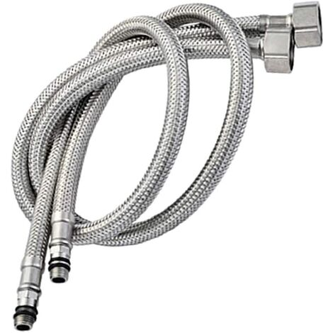"""main image of """"Pack of 2 Kitchen/Basin Monobloc Mixer Tap Connectors Flexi Pipes Tails British Standard Pipe M10 x1/2 Fitting 800mm Long (Silver Pipes)"""""""