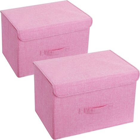 Pack of 2 Washable Storage Boxes, Foldable Clothes Storage, Fabric Storage Crate with Lids and Handles for Home, Office, Nursery, Closet, Bedroom (Pink)