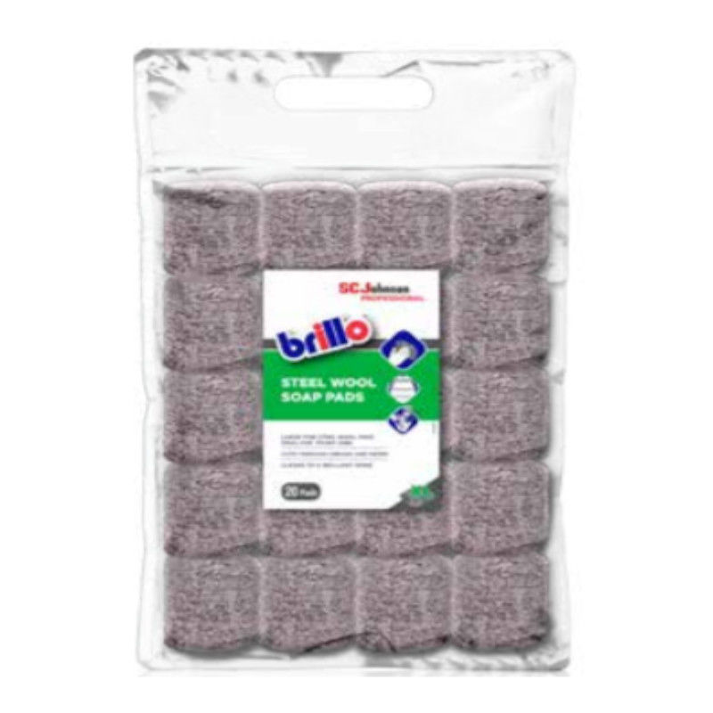 Image of pack of 20 Multi Use Steel Wool Soap Pads Cleans to a Brilliant Shine - Brillo