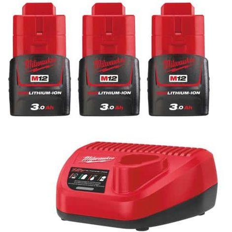 Pack of 3 batteries NRJ 3.0Ah Milwaukee M12 - Charger 4933459207