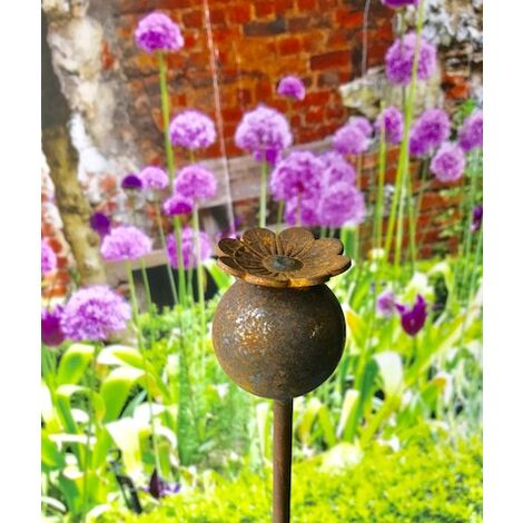 """main image of """"Pack of 3 Poppy Plant Pinn 5Ft (Bare Metal/Natural Rust)"""""""