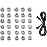 Pack of 30 - 40mm LED Round IP67 Rated Garden Decking Kitchen Plinth Lights Kit - 3M Extension Cable