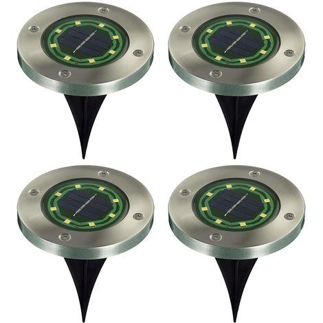 Pack of 4 Solar Garden Lights 8-LED Ground Light Decoration White