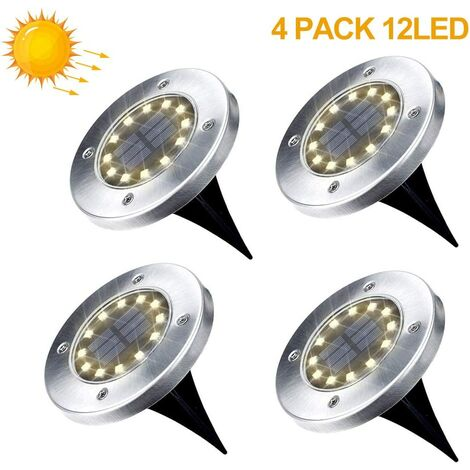 Pack of 4 Solar Lights Garden 12 LEDs Solar Floor Light Outdoor Garden Lights Warm White IP65 Waterproof Landscape Lighting for Yard Driveway Lawn