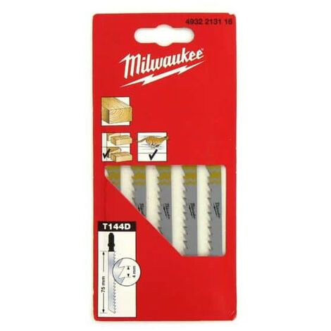 Pack of 5 blades Jig Saw MILWAUKEE wood 75 mm tooth 4mm 4932213116