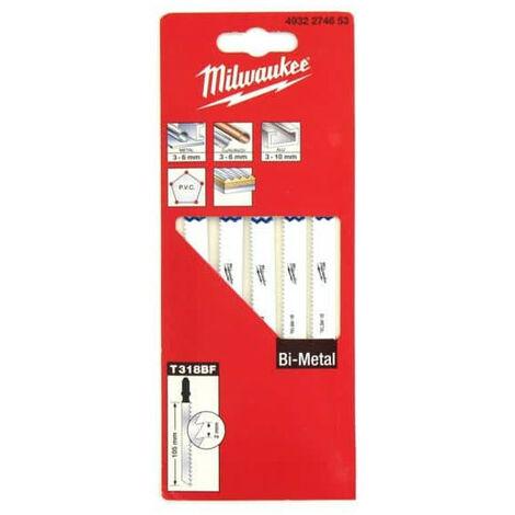 Pack of 5 blades jigsaw MILWAUKEE metal teeth 105 mm 2 mm Bi-Metal 4932274653