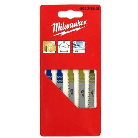 Pack of 5 blades jigsaw MILWAUKEE metal / wood / PVC 4932345825