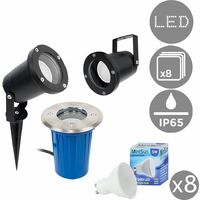 Pack of 8 3 in 1 Ground / Wallpike Outdoor Lights Black Finish IP65 + GU10 LED Bulbs - 3000K Warm White
