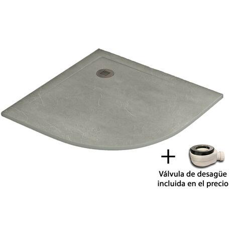 PACK OFERTA de Plato de ducha de resina antidezlizante Semicircular + Mampara semicircular con cristal de seguirdad  4mm