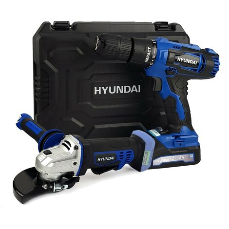 """main image of """"Pack Outillage - HYUNDAI HPP20V2A HM20V - 20V - Perceuse Visseuse à Percussion et Meuleuse d'angle - Batterie 2Ah et chargeur"""""""