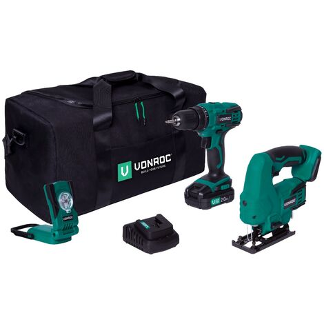 Pack outils sans fil VPower 20V - Perceuse-visseuse, scie sauteuse, lampe de de travail avec 1 batterie 2.0Ah et chargeur inclus