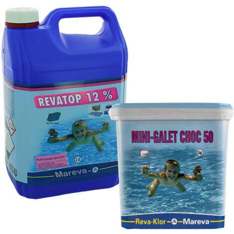 Pack ouverture piscine MAREVA - Revatop - Chlore choc - Bleu