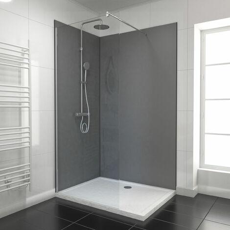 """main image of """"PACK PANNEAUX MURAUX GRIS - en aluminium avec profile d'angle et de finition anodises noir mat"""""""