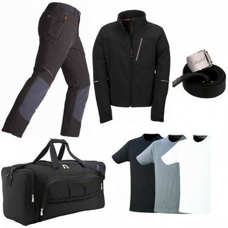 Pack: pantalon élasticisé Expert + blouson softshell Dragon + sac + ceinture + 3 T-shirts KAPRIOL - plusieurs modèles disponibles
