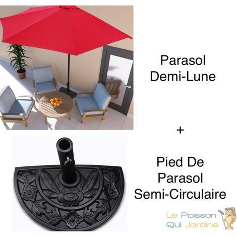 pack parasol demi lune pied de parasol rouge terrasses et balcons
