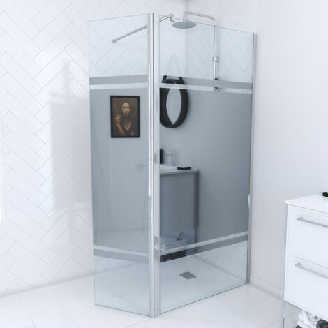Pack paroi de douche avec bande miroir profile chrome - FREEDOM 2 MIRROR + barre de fixation FREEDOM 2 TELESCOPIC + volet pivotant FREEDOM 2 MIRROR