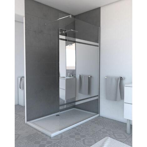 Pack paroi de douche miroir à profile chrome FREEDOM 2 MIRROR + Barre de fixation extensible chrome FREEDOM 2 TELESCOPIC