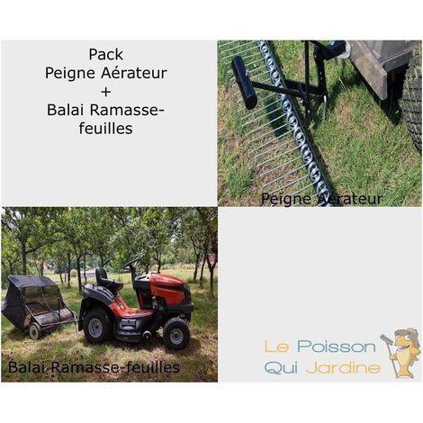 Pack Peigne Aérateur 120 cm + 1 Ramasse-Feuilles 95 cm Pour Autoportée