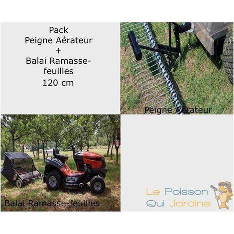 Pack Peigne Aérateur De Gazon + 1 Balai Ramasse-Feuilles De 120 cm