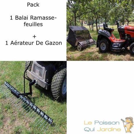 Pack Peigne Aérateur De Gazon + Remorque Ramasse-Feuilles De 105 cm