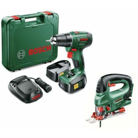 Pack Perceuse Bosch PSR 1800 LI2 + Scie sauteuse Bosch PST18 LI avec 2 batteries 1.5 Ah et chargeur