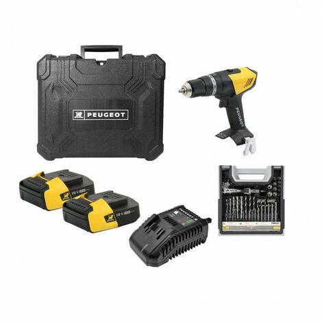 Pack Perceuse PEUGEOT ENERGYDRILL-18V20 - 2 batteries 18V 2.0 Ah - 1 chargeur - Mallette mixte 108pcs 250312-190646