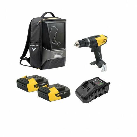 Pack Perceuse PEUGEOT ENERGYDRILL-18V20 - 2 batteries 18V 2.0Ah - 1 chargeur - sac à dos ORIGINS 250312-250300