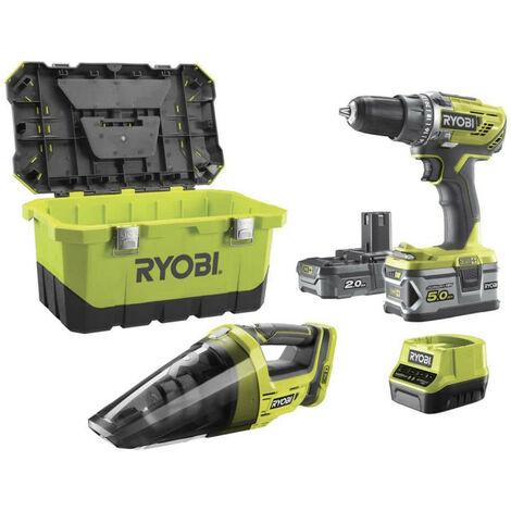 Pack perceuse-visseuse RYOBI 18 V OnePlus R18DD3 - Aspirateur d'atelier RYOBI R18HV - 2 batteries - chargeur rapide R18DD3-252VT