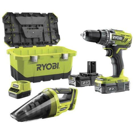 Pack perceuse-visseuse RYOBI 18V OnePlus R18DD3-200 - Aspirateur d'atelier RYOBI CHV182M - 2 batteries LithiumPlus 2.0Ah - chargeur rapide 2.0Ah R18DD3-220VT