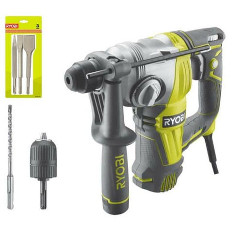 Pack Perforateur Burineur RYOBI SDSPLUS 800W - 4 modes - RSDS800-KC - Kit 3 burins SDS+ RIOBY 1 pointe - 1 plat - 1 bêche - RAKSPC03