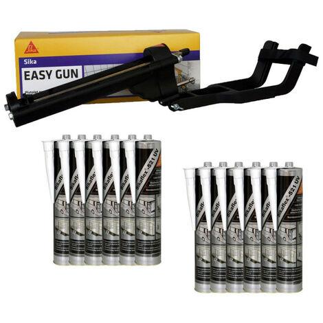 Pack Pistolet à mastic SIKA EasyGun - 12 colles mastic hybride SIKA 521 UV - Blanc - 300ml