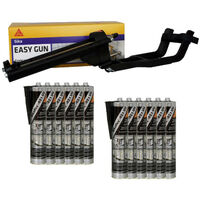 Pack Pistolet à mastic SIKA EasyGun - 12 colles mastic hybride SIKA 521 UV - Noir - 300ml