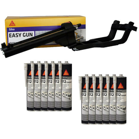 Pack pistolet à mastic SIKA EasyGun - 12 colles mastic hybride SIKA Sikaflex 512 Caravan - Blanc - 300ml - Noir