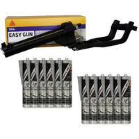 Pack pistolet à mastic SIKA EasyGun - 12 colles mastic hybride SIKA Sikaflex 521 UV - Gris clair - 300ml - Noir