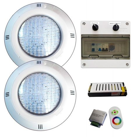 Pack Plus 2 Focos LED 35W RGBV+ (4 hilos) + Transformador + Control remoto + Cuadro Electrico