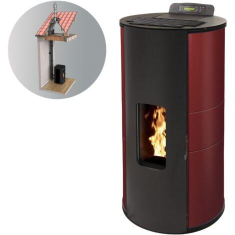 Pack Poêle à granules GIANNI 9 KW Etanche - Bordeaux + Kit Conduit Double Flux Intérieur Vertical Avant Tubage 100/150 option télécommande