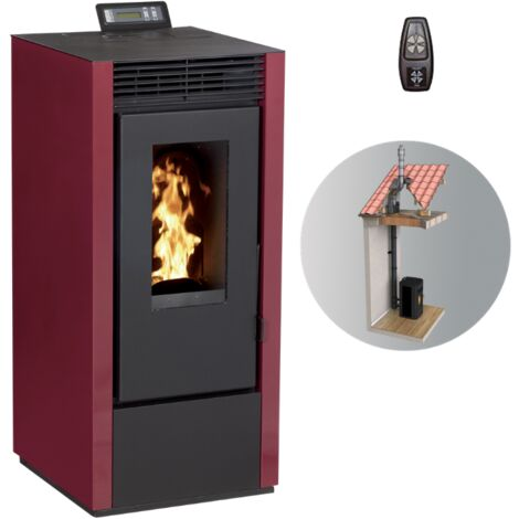 Pack poêle à granules MARINA 11 KW Etanche + Kit Conduit 80-125 avec wifi - Différents coloris