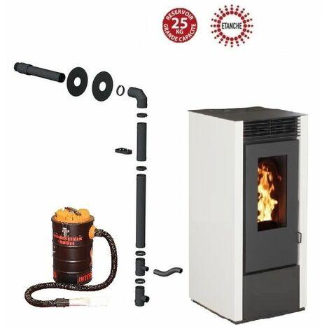 Pack poêle à granules MARINA 14 KW Etanche Blanc + Kit Conduit Sortie Ventouse - option aspirateur 20 litres 1000W