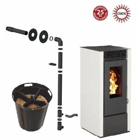 Pack poêle à granules MARINA 14 KW Etanche Blanc + Kit Conduit Sortie Ventouse - option Pellet'Quadra réserve à granulés 15kg