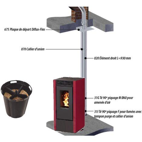 Pack poêle à granules MARINA 14 KW Etanche Bordeaux + Kit Conduit Double Flux Intérieur Vertical Avant Tubage 80/125 - option Pellet'Quadra réserve à granulés 15kg