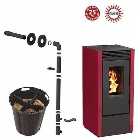 Pack poêle à granules MARINA 14 KW Etanche Bordeaux + Kit Conduit Sortie Ventouse - option Pellet'Quadra réserve à granulés 15kg
