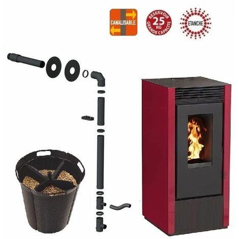 Pack poêle à granules MARINA 14 KW Etanche Canalisable Bordeaux + Kit Conduit Sortie Ventouse - option Pellet'Quadra réserve à granulés 15kg
