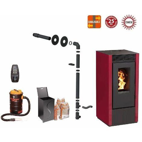Pack poêle à granules MARINA 14 KW Etanche Canalisable Bordeaux + Kit Conduit Sortie Ventouse - option télécommande, aspirateur 20 litres 1000W, Pellet'Box