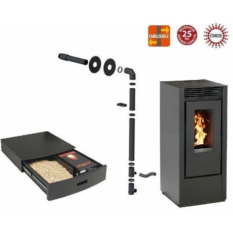 Pack poêle à granules MARINA 14 KW Etanche Canalisable Noir + Kit Conduit Sortie Ventouse - option Podium+ range granules, bûches et aspirateur