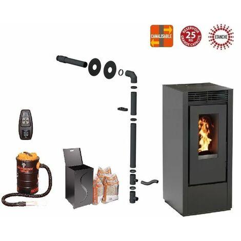Pack poêle à granules MARINA 14 KW Etanche Canalisable Noir + Kit Conduit Sortie Ventouse - option télécommande, aspirateur 20 litres 1000W, Pellet'Box